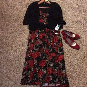 2 piece floral dress and black jacket